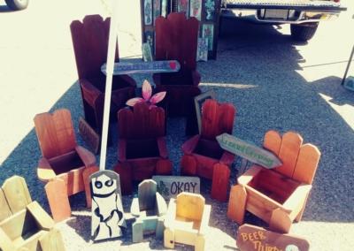 Tiny wooden chair - Irving Village Albuquerque